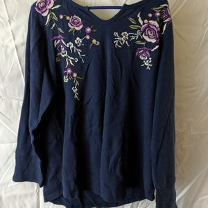 Style & Co blue thermal blouse size 2X plus size
